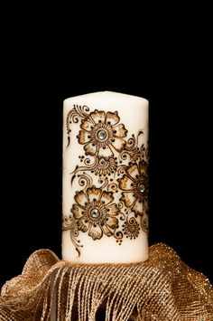 "3""X6"" Ivory unscented candle Hand Crafted with natural henna, acrylic paint and gems"