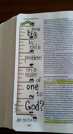 Cute Bible Journaling idea to remember that no problem is too big for our God!