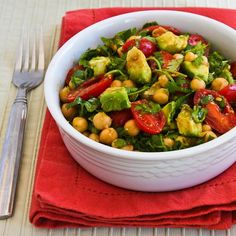 Recipe for Garbanzo, Tomato, and Cilantro Salad with Lime and Chile Dressing (with or without avocado) from Kalyn's Kitchen