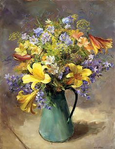 Summer Flowers in a Green Jug - Limited Edition Print | Mill House Fine Art – Publishers of Anne Cotterill Flower Art