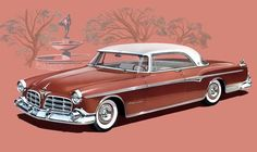 Vintage Cars The 1955 Imperial Newport looks good enough to eat. - 1955 Chrysler Imperial Newport print The 1955 Chrysler Imperial Newport looks good enough to eat. Available in chocolate. Bmw Classic Cars, Classic Car Show, Classic Trucks, Chevy Classic, Classic Auto, Dodge, Mopar, Hot Rods, Automobile