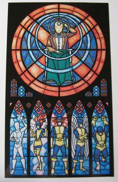 Amazing stained glass designs of Spiderman, Batman, Sailor Moon, X-men & My Little Pony by artist Marissa Garner. Marvel Comics, Arte Dc Comics, Marvel Heroes, Captain Marvel, Marvel Avengers, Comic Book Characters, Comic Books Art, Comic Art, Stargate
