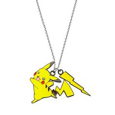 "Pokemon Stainless Steel Pikachu Pendant Necklace, Women's, Size: 18"", Yellow"