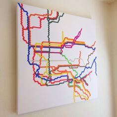 Canvas Art Print - Art on Canvas - NYC Subway Map - NYC, Graph Drawing, original art, art on canvas, 12x12 on Etsy, $75.00