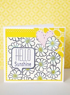 Hello Sunshine card by Leanne Allinson featuring Jillibean Soup Sew Sweet Sunshine Soup and Happy Hues
