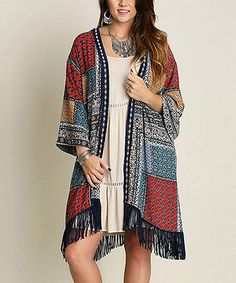 Another great find on #zulily! Navy Geometric Open Cardigan - Plus #zulilyfinds