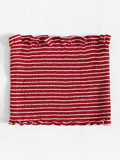Shop Frill Trim Striped Tube Top at ROMWE, discover more fashion styles online. Girls Fashion Clothes, Teen Fashion Outfits, Outfits For Teens, Trendy Outfits, Cute Summer Outfits, Cute Outfits, Tube Top Outfits, Romwe, Cute Crop Tops