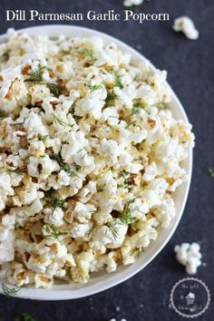 This Dill Parmesan Garlic Popcorn is a delicious savory snack, and perfect for movie nights, game days, and the Super Bowl! Plus it's ready in 10 minutes! Popcorn Snacks, Flavored Popcorn, Gourmet Popcorn, Popcorn Recipes, Snack Recipes, Cooking Recipes, Pop Popcorn, Microwave Popcorn, Snacks
