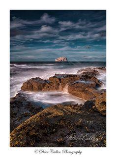 Seacliff Beach from shore to Bass Rock, East Lothian, Scotland