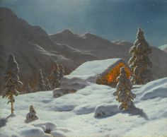 Moonlit Winter Landscape by Ivan Fedorovich Choultse | Art Posters & Prints