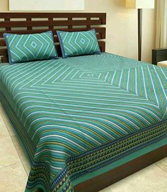 Pure Cotton King Size Double Bedsheet Rajasthani Bedsheets With Two Pillow  Covers Fast Colour Printing