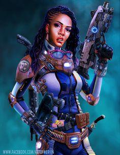 """fyblackwomenart: """"Lollipop Jenny - The Space Mercenary by JJwinters """""""