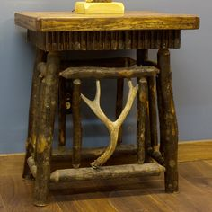 Real Hickory Log Night Table with Antler Accent - JHE's Log Furniture Place
