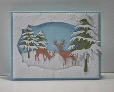 Winter scene using Impression Obsession dies