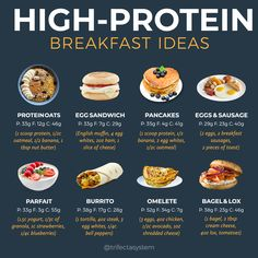 "You may have heard it a time or two ""breakfast is the most important meal of the day."" We break down the best, healthy options for a high protein breakfast to start your day off right and trigger weight loss! High Protein Snacks, Low Carb High Protein, Healthy High Protein Meals, Protein Dinner, High Protein Breakfast, High Protein Recipes, Healthy Meal Prep, Healthy Breakfast Recipes, Healthy Recipes"