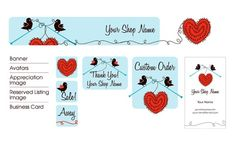 Finches and Stitches Premade Etsy Shop Design Set by miamardesign, $17.00 Name Banners, Finches, Etsy Shop, Design Set, Handmade Gifts, Cards, Shopping, Logos, Kid Craft Gifts
