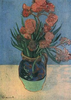 Still Life: Vase with Oleanders    Oil on canvas  56.0 x 36.0 cm.  Arles: August, 1888  F 594, JH 1567    Location unknown: possibly stolen in 1944