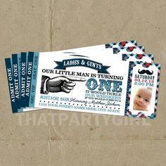 little man birthday party   Little Man Birthday Party Ticket Style Invitations - DIY U Print