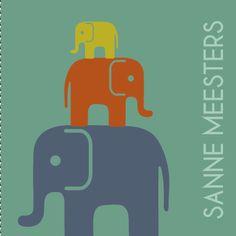 Een stoer geboortekaartje met stapel van olifanten silhouet voor jongen of meisje..