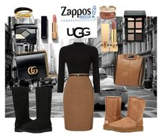 """The Icon Perfected: UGG Classic II Contest Entry"" by hackneygirl ❤ liked on Polyvore featuring UGG Australia, Phase Eight, Gucci, Maje, Bobbi Brown Cosmetics, Christian Dior, Yves Saint Laurent, Chanel, Michael Kors and Rosantica"