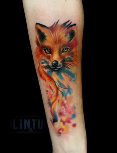 Fox tattoo on forearm watercolor by Yuliya Lintu Red Fox Tattoos, Name Tattoos, Wolf Tattoos, Forearm Tattoos, Body Art Tattoos, Small Tattoos, Watercolor Tattoo Words, Watercolor Tattoo Shoulder, Geometric Watercolor Tattoo