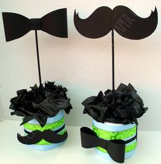 Baby boy mustache/bow party center pieces
