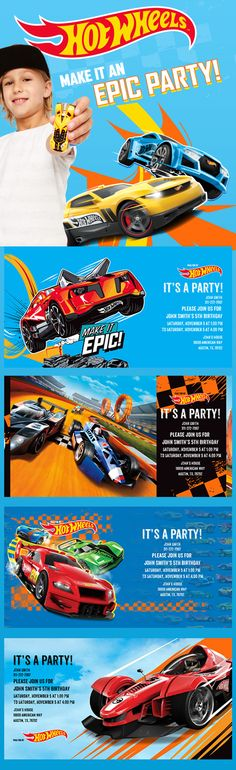 Digital Kids Birthday Invitations From Evite Postmark Www - Hot wheels birthday invitation how to make