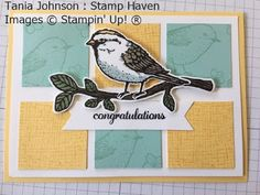 Tania Johnson : Stamp Haven, Independent Stampin' Up! Demonstrator, Onstage November 2017 Card Swap. #onstage2017 #loveitliveitshareit #best birds #congratulations #card