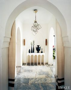 bruno-frisonis-morocco-home-01  Moroccan hallway with marble tiles