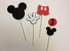 Mickey Mouse Birthday Cupcake Toppers 12 by TheGirlNXTdoor on Etsy