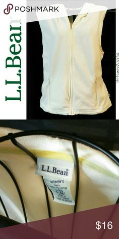 L.L. BEAN Sleeveless Hoodie Size small. Cream colored. No rips or stains. L.L. Bean Tops Sweatshirts & Hoodies