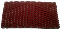#354 Rose with Gray insert Rockport Rope Doormats 100% made in USA Hand woven