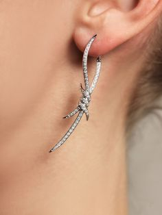 STEPHEN WEBSTER White gold diamond barbed wire earrings