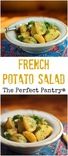 Picnic perfect French potato salad, with no mayo but tons of flavor! Potato Salad No Mayo, French Potato Salad, French Potatoes, Easy Potato Salad, Potato Dishes, Potato Recipes, Easy Pasta Recipes, Salad Recipes, Easy Cold Pasta Salad