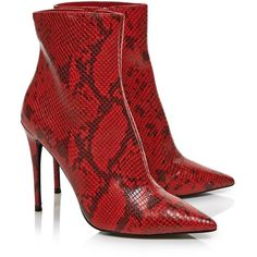 Kurt Geiger London Ride Snake Print Ankle Boots- Red ($265) ❤ liked on Polyvore featuring shoes, boots, ankle booties, red bootie, red ankle booties, snake print booties, high heel ankle booties and high heel boots