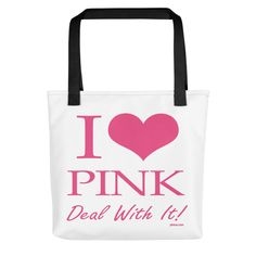 I Love Pink Tote Bag! A spacious and trendy tote bag to help you carry around everything that matters. Pink Tote Bags, Reusable Tote Bags, Everything Pink, Pink Gifts, Fashion Accessories, My Love, Baby Baby, Fabric, Signs