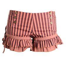 Ladies RUFFLE Hem Pink Victorian BLOOMER SHORTS Sailor Button Knicker Hot Pant L