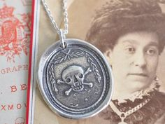 skull and crossbones wax seal necklace - antique wax seal jewelry
