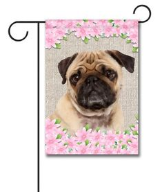 Spring Pug Garden Flag