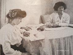 Grand Duchess Anastasia Romanov reading, as her sister Grand Duchess Marie Romanov smiles