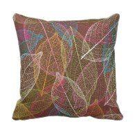Cute autumn doodle leaf nerve retro pattern pillows