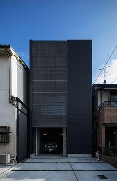 #ピンタレストで見つけました Zen House Design, Minimalist House Design, Stairs Architecture, Modern Architecture, Facade Design, Exterior Design, Japan Modern House, Narrow House Designs, Small House Exteriors