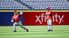 John Lamb getting in some work before game in Atlanta with pitching coach Riggins standing by. Let's go Reds! Reds Baseball, Go Red, Cincinnati Reds, Pitch, Letting Go, Lamb, Atlanta, Let It Be, Lets Go