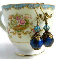 Victorian Lapis Earrings Sapphire Blue Swarovski by MsBsDesigns, $34.00