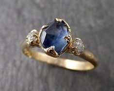 Partially faceted Montana Sapphire Diamond yellow Gold Engagement Ring Wedding Ring Custom One Of a Kind blue Gemstone Ring Multi stone Ring 1573 Raw Gemstone Jewelry, Raw Crystal Necklace, Blue Wedding Rings, Bohemia Jewelry, Lisa, Sapphire Diamond, Sapphire Stone, Cute Rings, Blue Gemstones