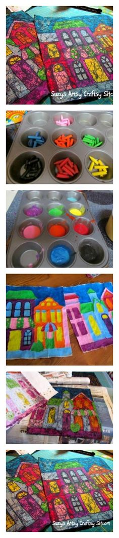 Create colorful batik fabric using melted crayons!  Easy tutorial! Love this!!!