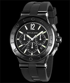 Bulgari Diagono. Stainless steel and ceramic bezel, 42mm on rubber strap.  Available at 6aec3a0451e