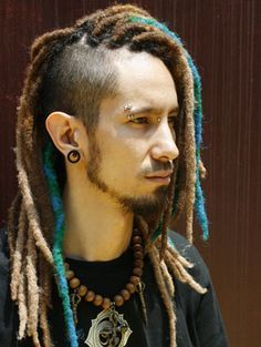 Long-term Option combines the dread love with the undercut that I'm set on. Love the undercut with blue wrapped dreads! Blonde Dreadlocks, Dreadlocks Men, Synthetic Dreadlocks, Asian Dreadlocks, Dreadlock Mohawk, Dreadlock Hairstyles For Men, Long Braided Hairstyles, New Natural Hairstyles, Cool Hairstyles