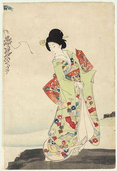 Beauty at a Pond by Chikanobu (1838 - 1912)