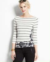 57828eca51636 Striped Floral Print Boatneck Top - Striped in a timeless black and white  palette